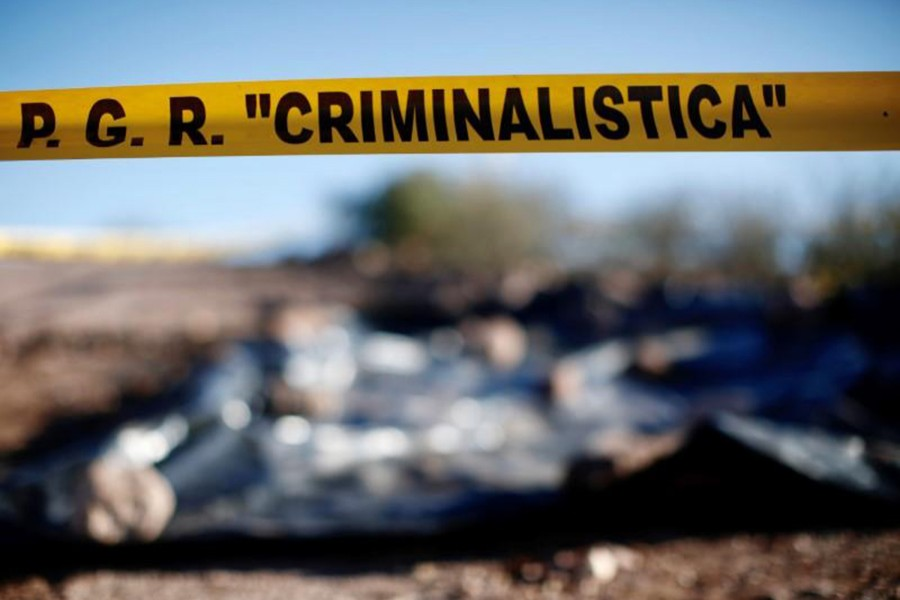A cordon set up by the office of Mexico's Attorney General is seen at the crime scene where family members of US-Mexican Mormon origin were killed near La Mora, Sonora, Mexico on January 11, 2020 — Reuters photo