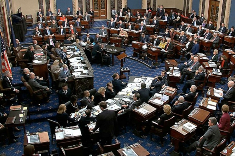 In this image from video, US Senators vote on approving the rules for the impeachment trial against President Donald Trump in the Senate at the US Capitol in Washington on Wednesday, January 22, 2020 — AP photo
