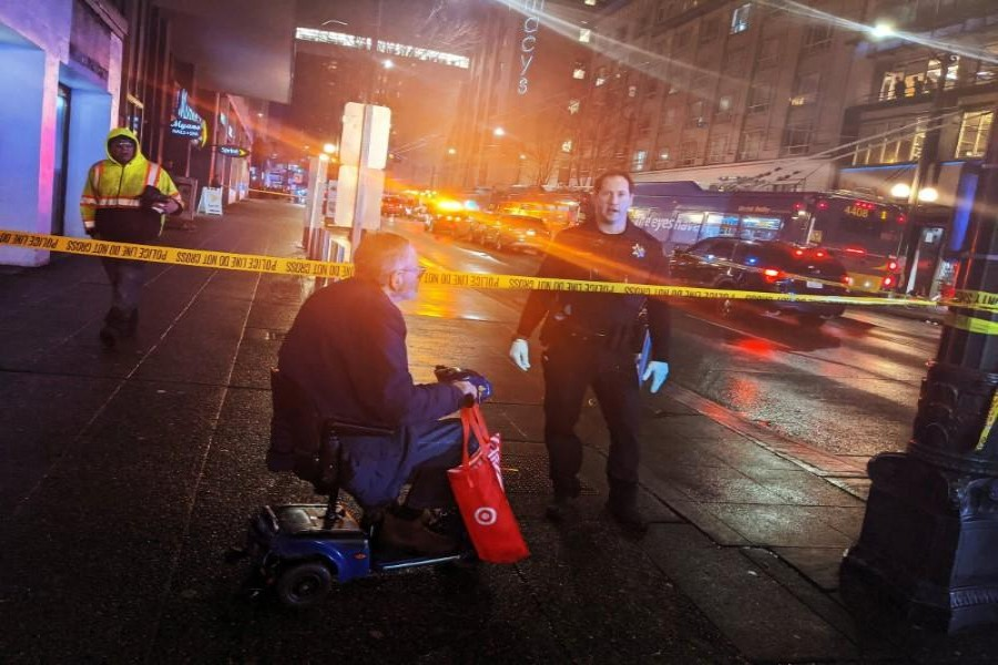Police block a road following a shooting in Seattle, Washington, U.S., January 22, 2020, in this picture obtained from social media. Mandatory credit JESSICA SCHREINDL/via REUTERS