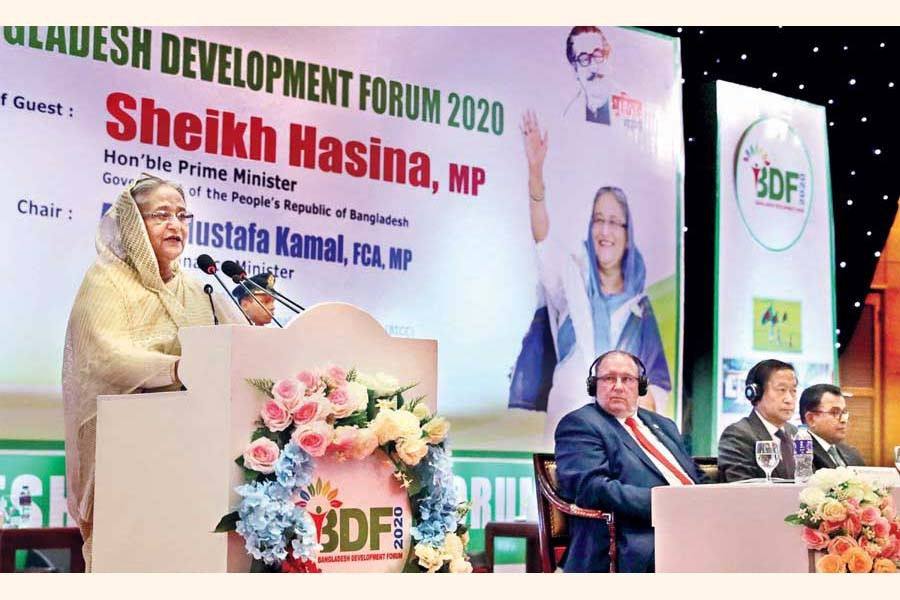 Prime Minister Sheikh Hasina speaking at the inaugural session of Bangladesh Development Forum 2020 in the city on Wednesday                                	— BSS