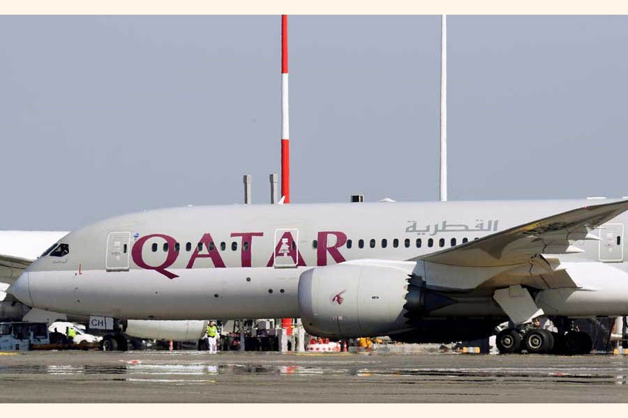 A Qatar Airways Boeing 787-8 Dreamliner airplane is pictured at Leonardo da Vinci-Fiumicino Airport in Rome, Italy                  	 — Reuters