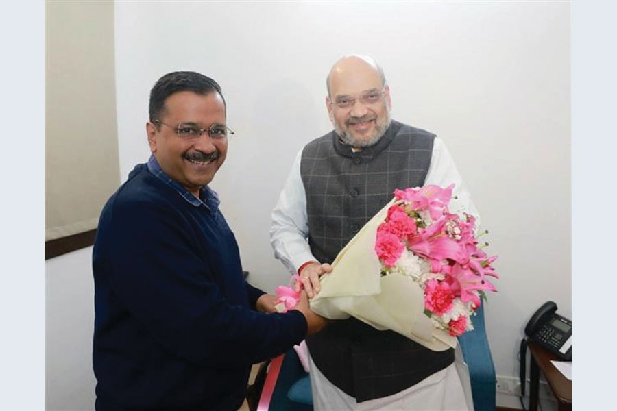 Delhi Chief Minister Arvind Kejriwal met the Union Home Minister Amit Shah at his residence in New Delhi on February 19, 2020.   —Credit: Amit Shah via the Internet    Arvind Kejriwal  @ArvindKejriwal  Met Hon'ble Home Minister Sh Amit Shah ji. Had a very good and fruitful meeting. Discussed several issues related to Delhi. Both of us agreed that we will work together for development of Delhi