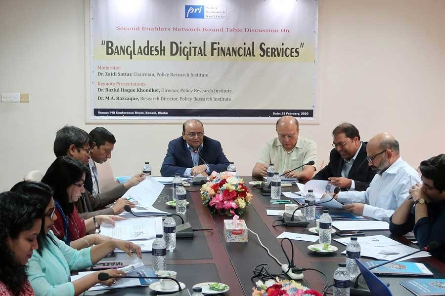 Policy Research Institute of Bangladesh (PRI) Chairman Dr Zaidi Sattar speaking at a roundtable on 'Bangladesh Digital Financial Services' organised by the PRI at its office in the city on Sunday — FE photo