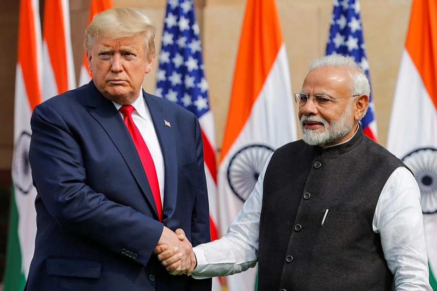 US President Donald Trump shake hands with India's Prime Minister Narendra Modi ahead of their meeting at Hyderabad House in New Delhi, India on February 25, 2020 — Reuters photo