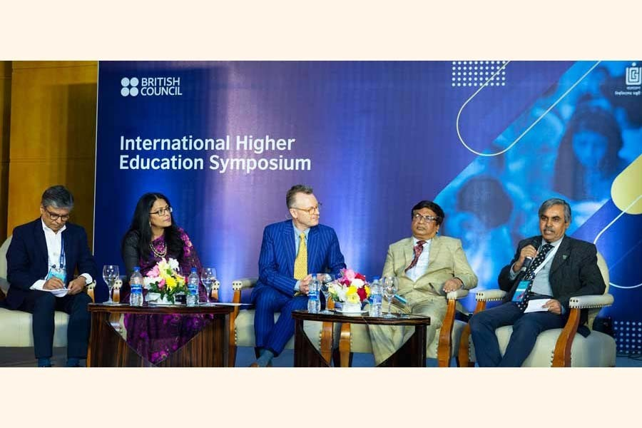 Education sector policy makers and experts from different institutions during the International Higher Education Symposium's panel discussion held in Dhaka