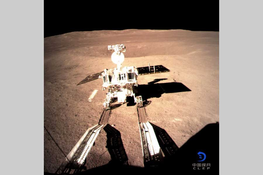 Photo provided by China National Space Administration on Jan. 3, 2019 shows Yutu-2, China's lunar rover, leaving a trace after touching the surface of the far side of the moon. (Xinhua)