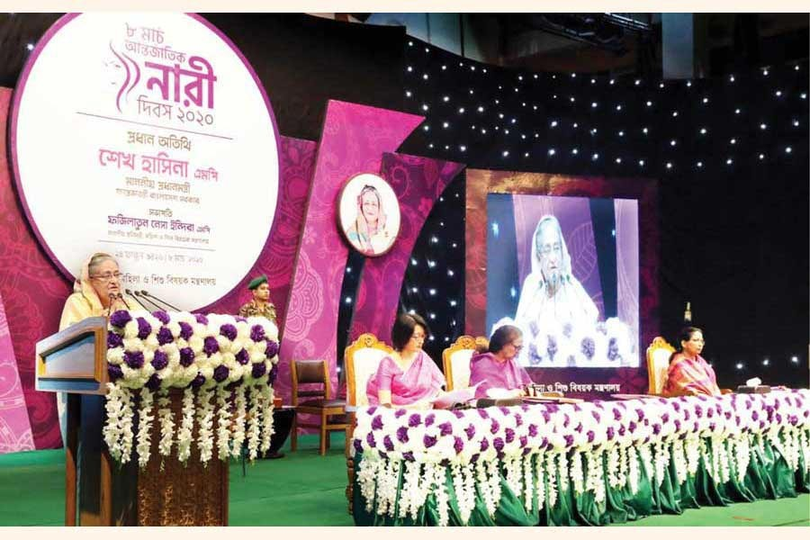 Prime Minister Sheikh Hasina speaks during an event marking the International Women's Day at Osmani Memorial Auditorium in Dhaka on Sunday, March 8, 2020.  —Photo: Focus Bangla