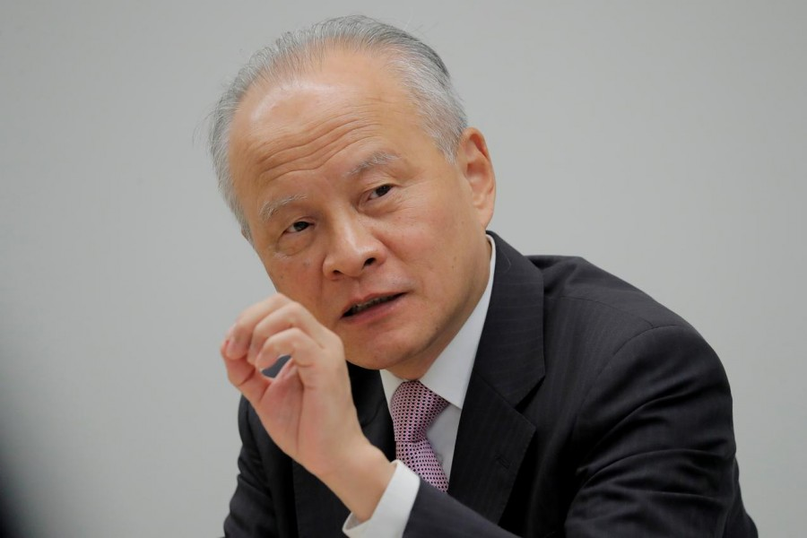FILE PHOTO: China's ambassador to the United States Cui Tiankai responds to reporters questions during an interview with Reuters in Washington, US, November 6, 2018. REUTERS/Jim Bourg