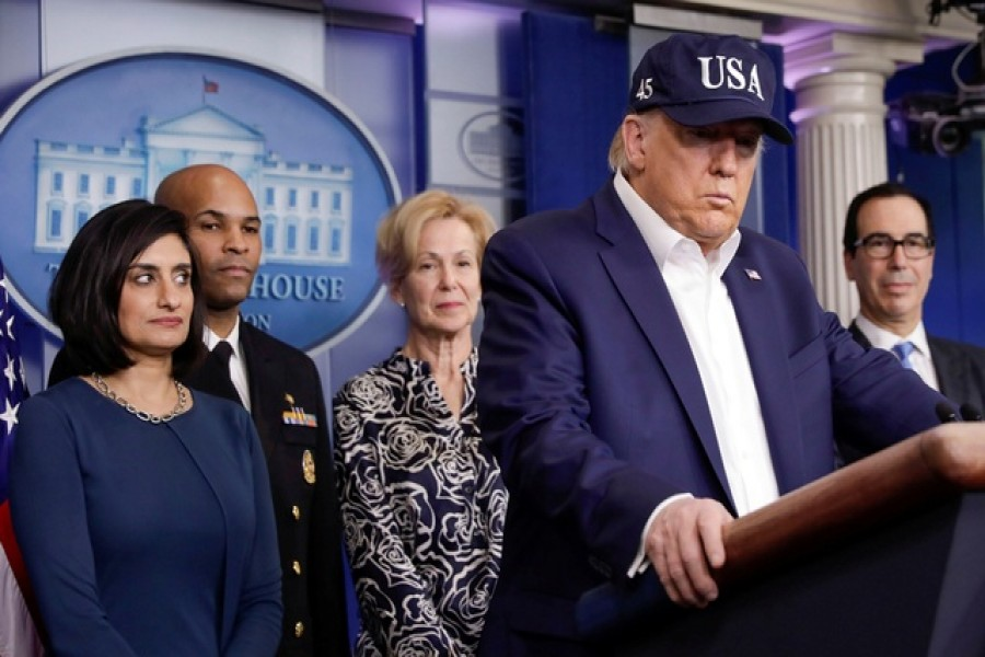 US president Donald Trump speaks at a press briefing with members of the Coronavirus Task Force at the White House in Washington, US, March 14, 2020. — Reuters