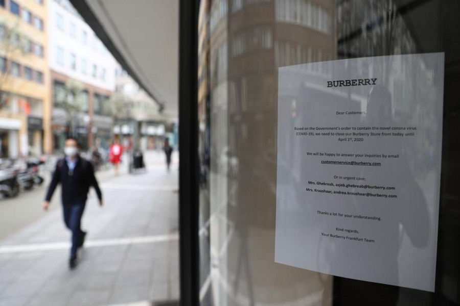 A closed shop is seen during the spread of the coronavirus disease (COVID-19) in Frankfurt, Germany, March 18, 2020. — Reuters
