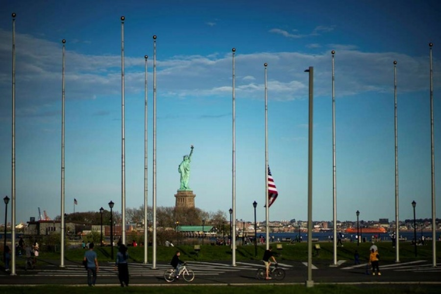 People visit the Liberty State Park after many New Jersey Parks set to re-open during the outbreak of the coronavirus disease (COVID-19) in Jersey City, New Jersey, US, May 02, 2020. — Reuters
