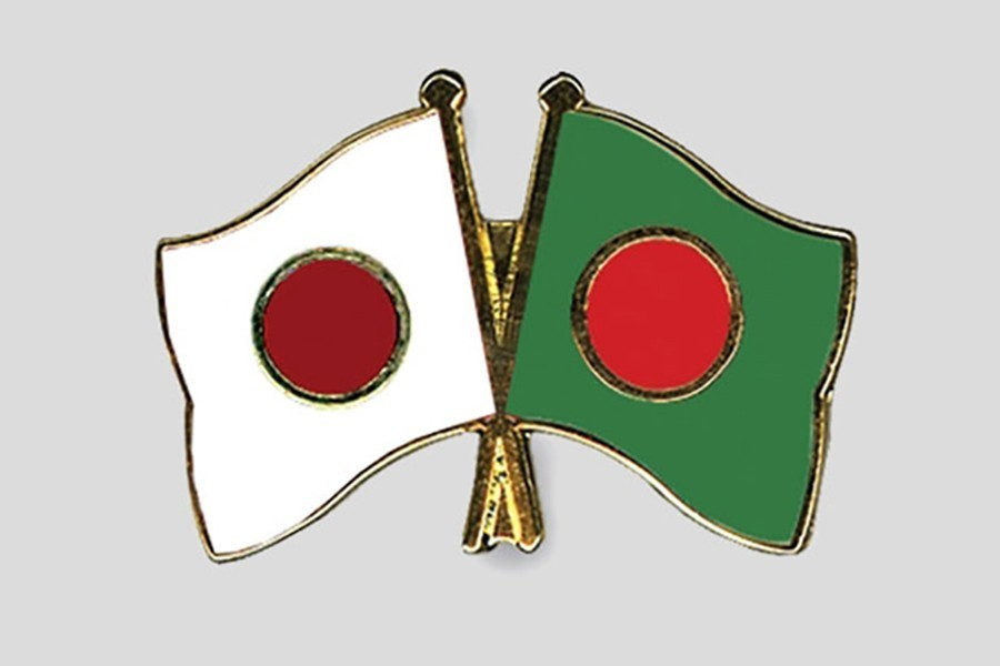 Bangladesh and Japan flags are seen cross-pinned in the image, symbolising friendship between the two nations. — Collected Photo