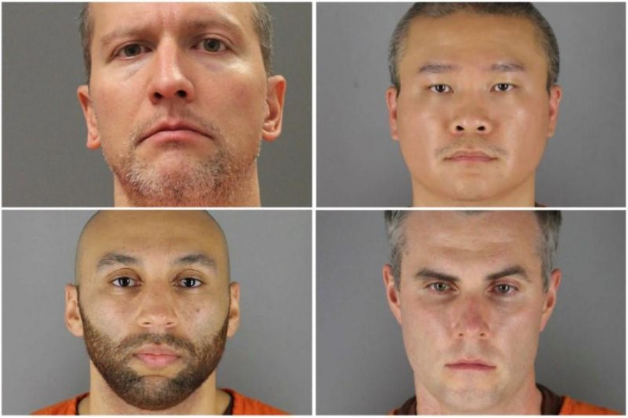 Former Minnesota police officers (clockwise from top left) Derek Chauvin, Tou Thao, Thomas Lane and J Alexander Kueng poses in a combination of booking photographs from the Minnesota Department of Corrections and Hennepin County Jail in Minneapolis, Minnesota, US — Minnesota Department of Corrections and Hennepin County Sheriff's Office/Handout via REUTERS