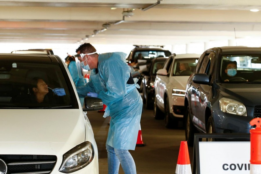 A coronavirus disease (Covid-19) drive-through testing facility is seen as the state of Victoria experiences an outbreak of cases, in Melbourne, Australia on June 25, 2020 — AAP photo via REUTERS