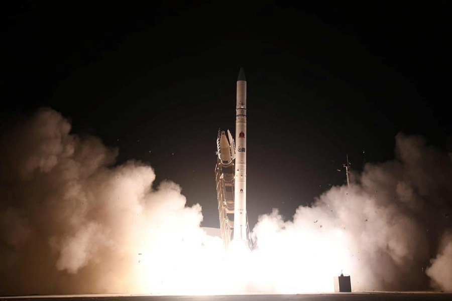 A new Israeli spy satellite, called Ofek 16, is shot into space from a site in central Israel July 6, 2020 — Israel Ministry of Defense Spokesperson's Office Handout via REUTERS