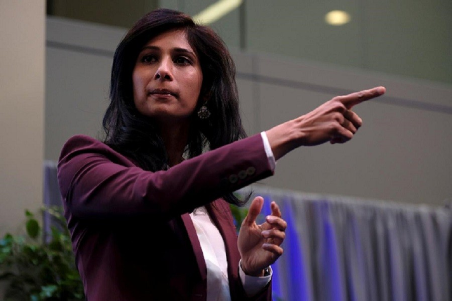 International Monetary Fund Chief Economist Gita Gopinath takes questions at the annual meetings of the IMF and World Bank in Washington, US, October 18, 2019 — Reuters/Files