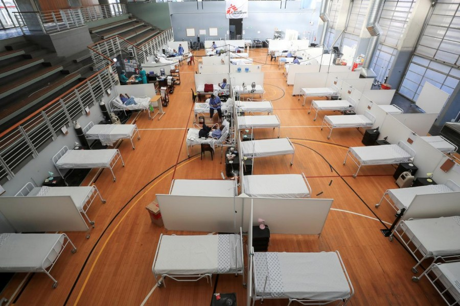 Beds are seen at a temporary field hospital set up in a sports complex by Medecins Sans Frontieres (MSF) during the coronavirus disease (Covid-19) outbreak in Khayelitsha township near Cape Town, South Africa on July 21, 2020 — Reuters/Files