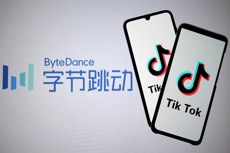 A 3-D printed figures are seen in front of displayed Tik Tok logo in this picture illustration taken November 07, 2019 — Reuters/Files