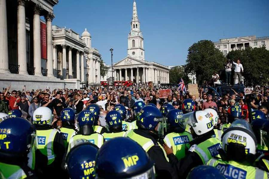 Protesters hold rally against lockdown measures in London