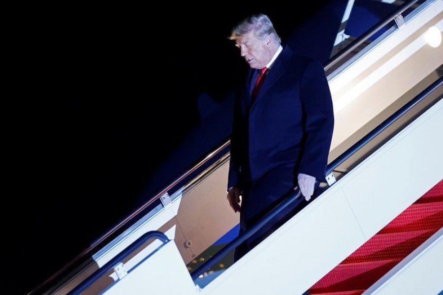 US President Donald Trump disembarks from Air Force One at Joint Base Andrews in Maryland, after visiting the US-Mexico border wall in Harlingen, Texas, US on January 12, 2021 — Reuters/Files