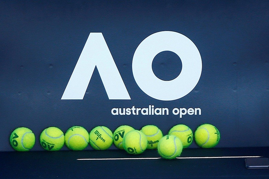 Tennis - Australian Open - Melbourne, Australia, January 14, 2018. Tennis balls are pictured in front of the Australian Open logo before the tennis tournament — Reuters/Files
