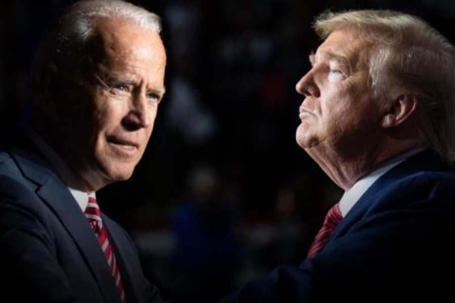 Donald Trump (R) and Joe Biden (L)