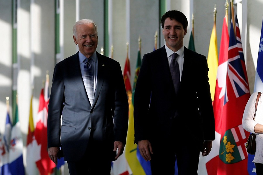 US President Joe Biden and Canadian Prime Minister Justin Trudeau seen in this undated Reuters file photo