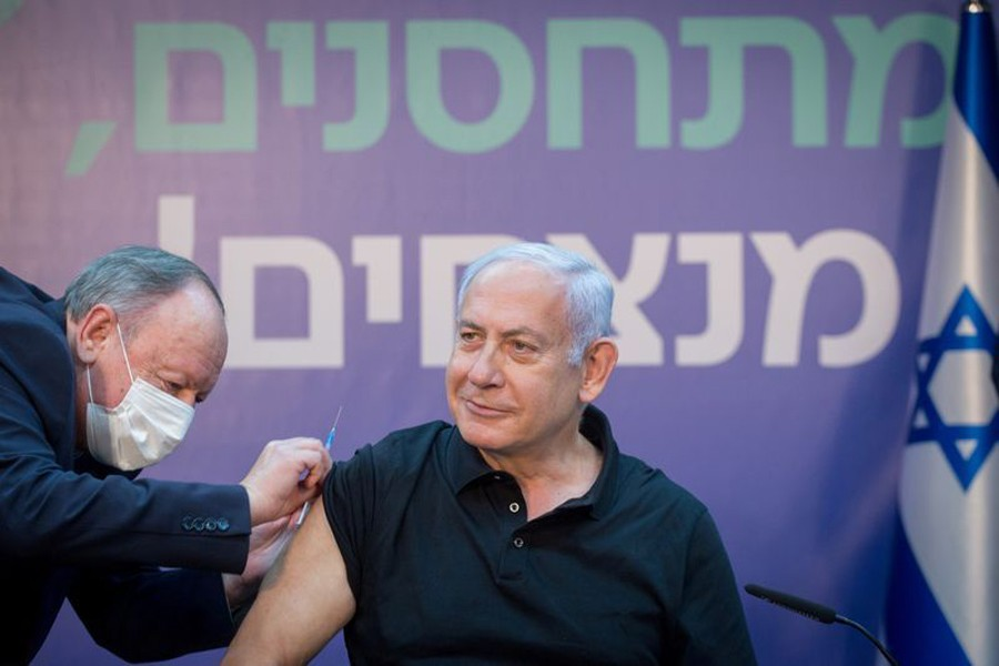 Israeli Prime Minister Minister Benjamin Netanyahu receives the second dose of the coronavirus disease (Covid-19) vaccine at Sheba Medical Center in Ramat Gan, Israel on January 9, 2021 — Reuters/Files