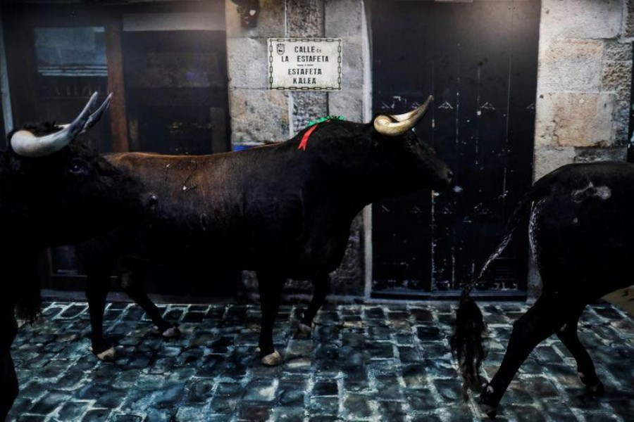 """Taxidermy bulls of San Fermin bullfights are seen at """"El panuelico de Hemingway"""" souvenir shop, along the 875-meter course of the running of the bulls from a corral to the bullring, at Estafeta street during the San Fermin festival which was cancelled due to the coronavirus disease (COVID-19) outbreak, in Pamplona, Spain July 7, 2020. Picture taken July 7, 2020. REUTERS/Jon Nazca"""