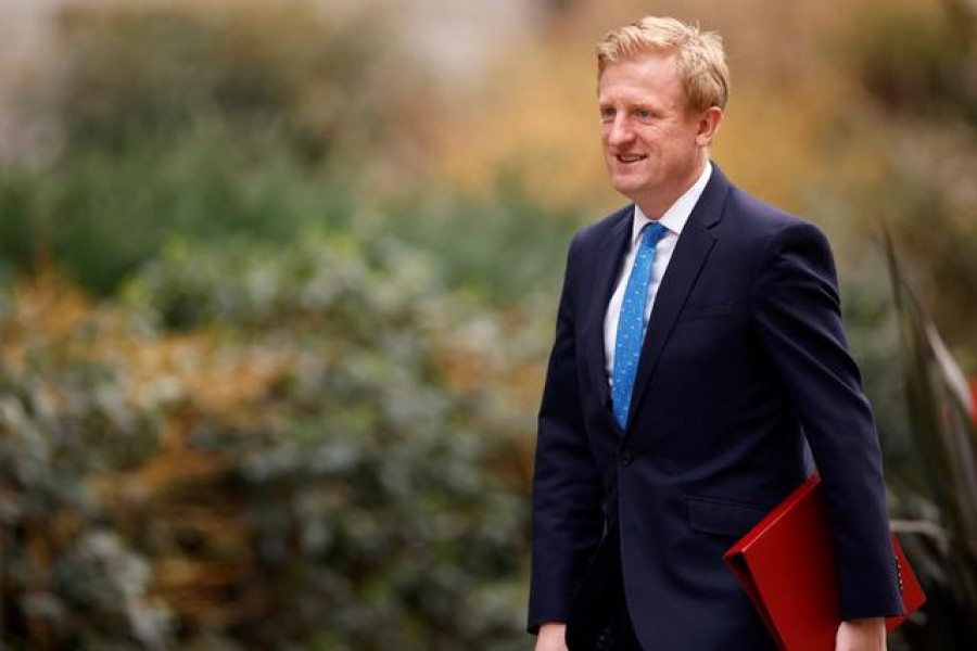 FILE PHOTO: Britain's Secretary of State for Digital, Culture, Media and Sport Oliver Dowden walks outside Downing Street in London, Britain, February 24, 2021. REUTERS/John Sibley