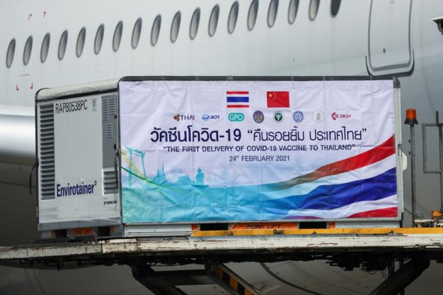 A container with Sinovac coronavirus disease (Covid-19) vaccines is unloaded from a plane at Bangkok's Suvarnabhumi International Airport, in Bangkok, Thailand February 24, 2021. REUTERS/Athit Perawongmetha