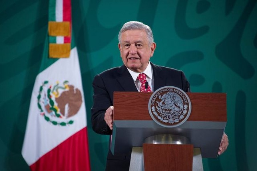 FILE PHOTO: Mexico's President Andres Manuel Lopez Obrador speaks during a news conference at the National Palace in Mexico City, Mexico February 19, 2021. Mexico's Presidency/Handout via REUTERS