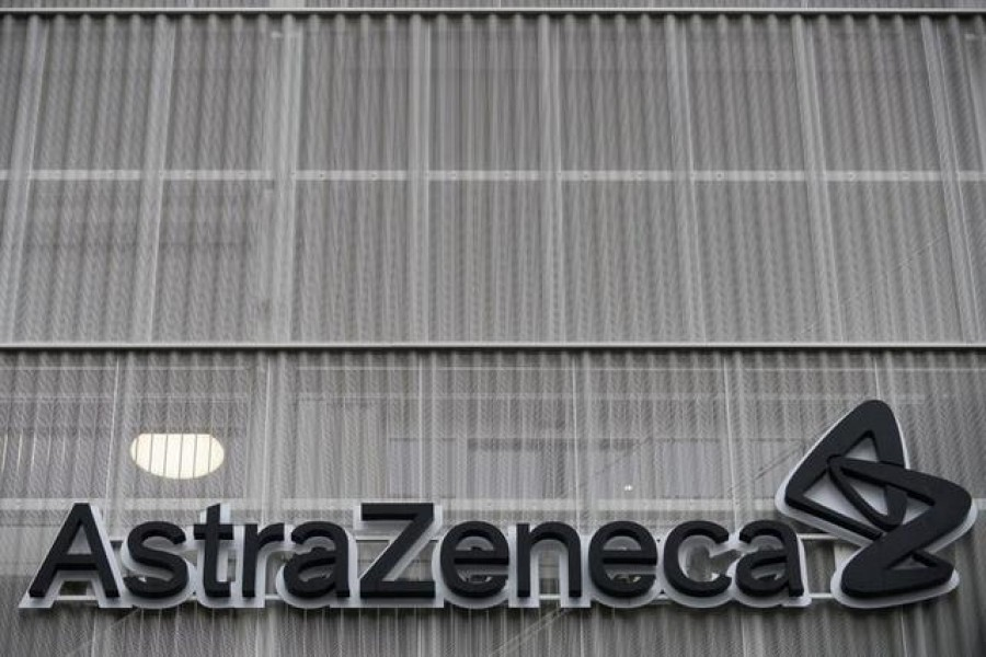 FILE PHOTO: The AstraZeneca logo is pictured outside the AstraZeneca office building in Brussels as part of the coronavirus disease (COVID-19) vaccination campaign, Belgium, January 28, 2021. REUTERS/Johanna Geron