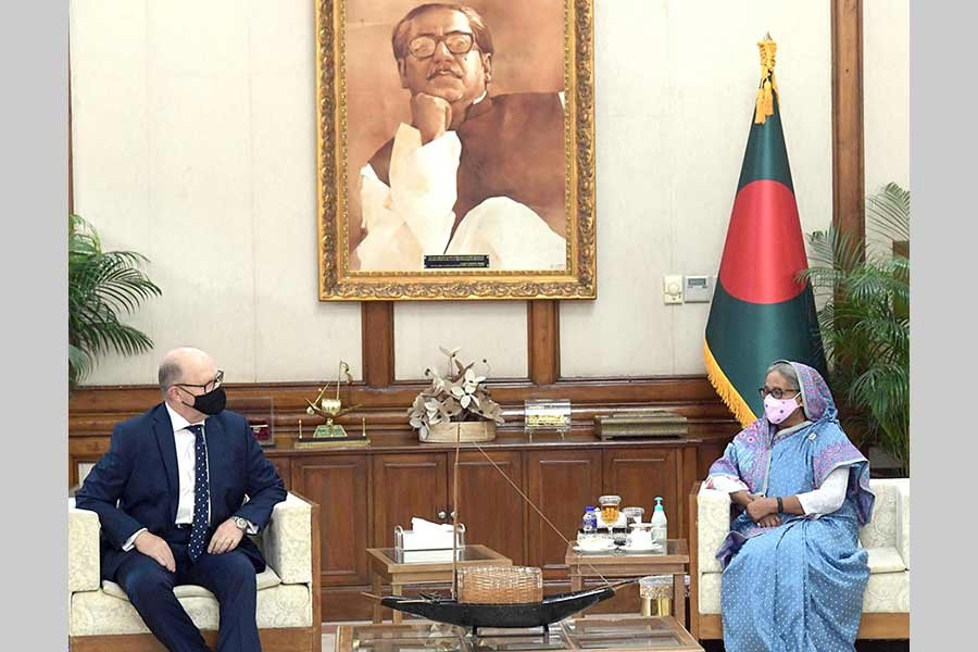 Newly-appointed Australian High Commissioner Jeremy Bruer meets Prime Minister Sheikh Hasina at Ganabhaban on Wednesday -PID Photo
