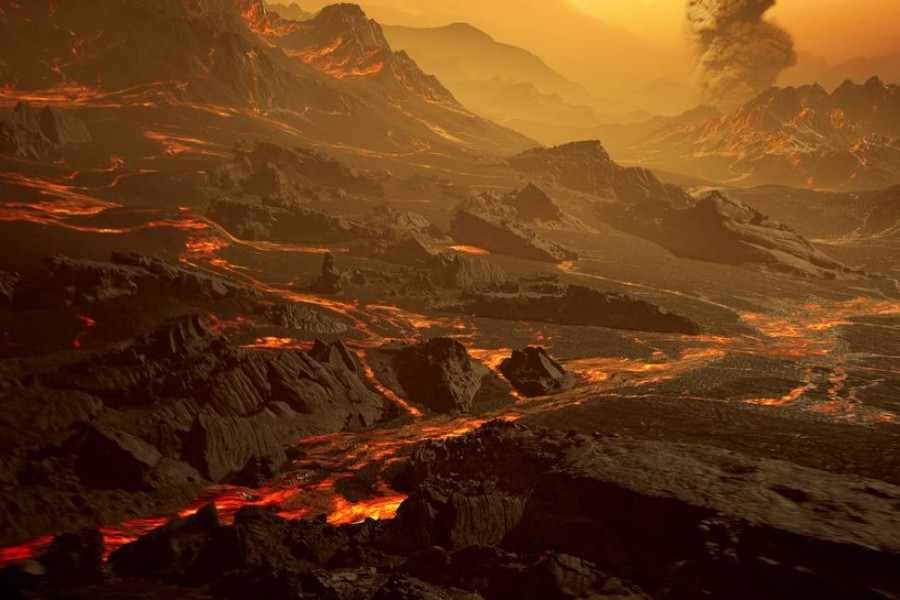 """The surface of the newly discovered exoplanet called Gliese 486 b, a type of planet known as a """"hot super-Earth"""" is seen in an undated artist's impression. With a surface temperature of about 430 degrees Celsius/800 degrees Fahrenheit/700 degrees Kelvin, astronomers suspect that the planet has a Venus-like hot and dry landscape interspersed with glowing lava rivers, possibly with a tenuous atmosphere. Renderarea/Handout via REUTERS"""