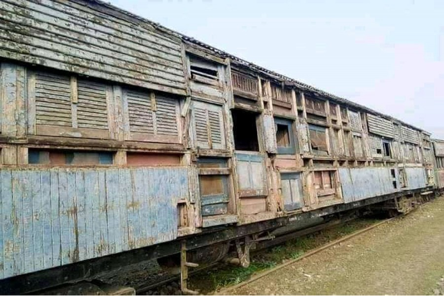 A partial view of the train's wooden saloon in Lalmonirhat — FE Photo