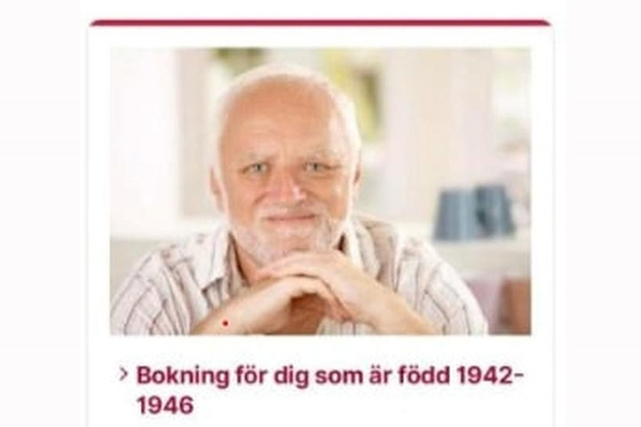 """A March 31, 2021 screenshot shows a part of a government website where Swedes can book Covid-19 vaccinations, featuring the """"Hide the Pain Harold"""" meme — Stockholm Region/Handout via REUTERS"""