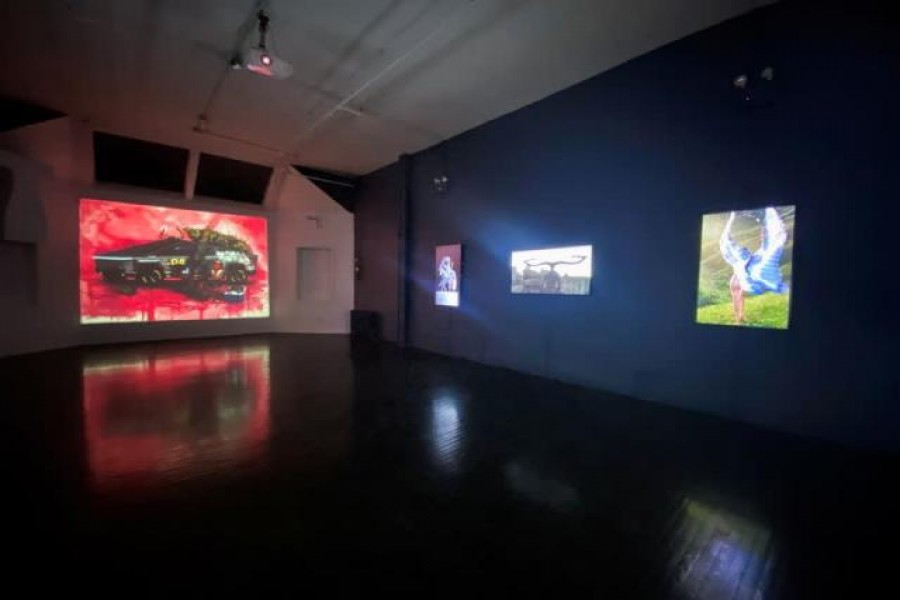 Artworks are seen at the Superchief Gallery NFT, the first permanent gallery space in the world, in the Union Square neighborhood of Manhattan, New York City, US, April 7, 2021 — Reuters