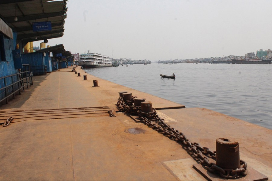 A view of an empty Sadarghat Launch Terminal in Dhaka during a government-imposed lockdown — File photo