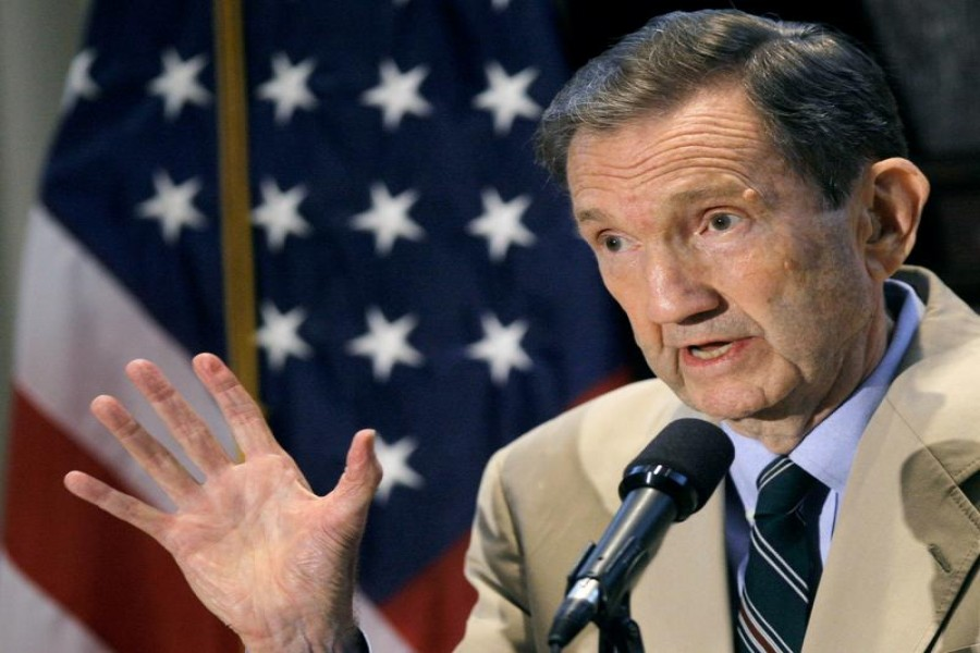 Former US Attorney General Ramsey Clark holds a discussion on the probability of a death or life sentence for Saddam Hussein in Washington October 5, 2006. REUTERS/Jim Young/File Photo