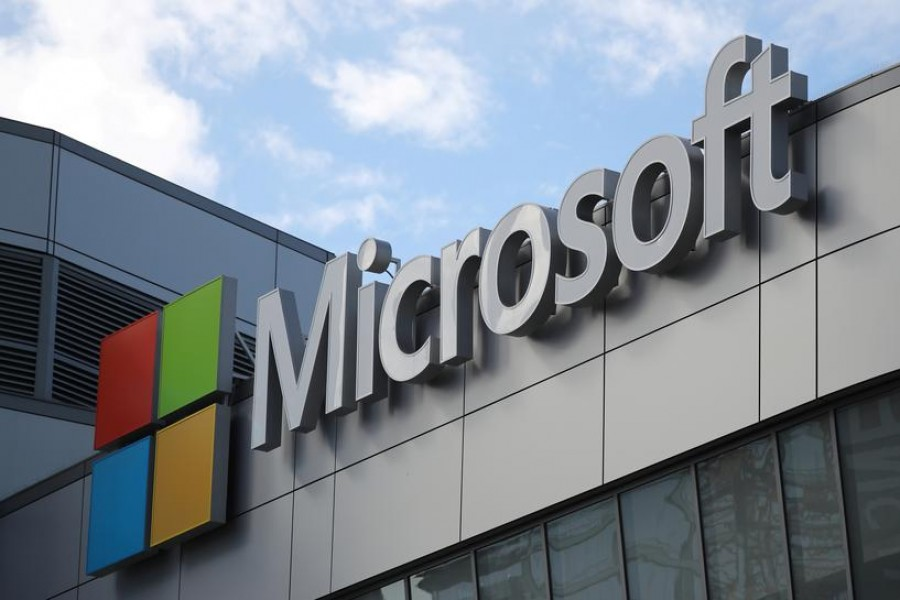 A Microsoft logo is seen in Los Angeles, California US on November 7, 2017