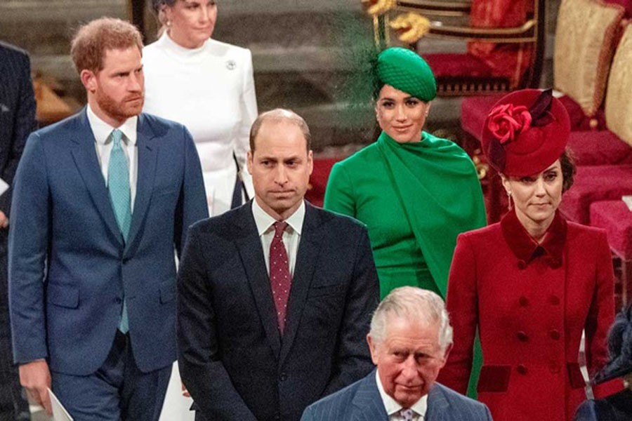 Britain's Prince Charles, Prince William and Catherine, Duchess of Cambridge, Prince Harry and Meghan, Duchess of Sussex attend the annual Commonwealth Service at Westminster Abbey in London, Britain Mar 9, 2020. -Reuters file photo
