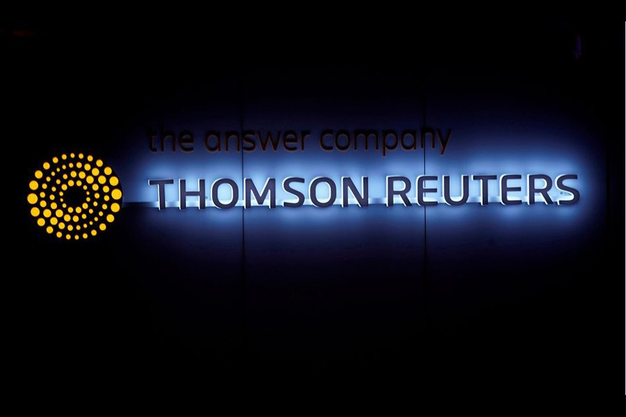 A Thomson Reuters logo is pictured on a building during the World Economic Forum (WEF) annual meeting in Davos, Switzerland on January 25, 2018 — Reuters/Files