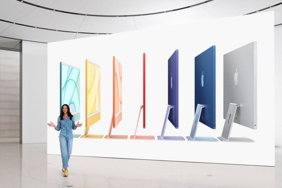 Apple's Colleen Novielli introduces the all-new iMac lineup, in this still image from the keynote video of a special event at Apple Park in Cupertino, California, US released on April 20, 2021 — Apple/Handout via Reuters