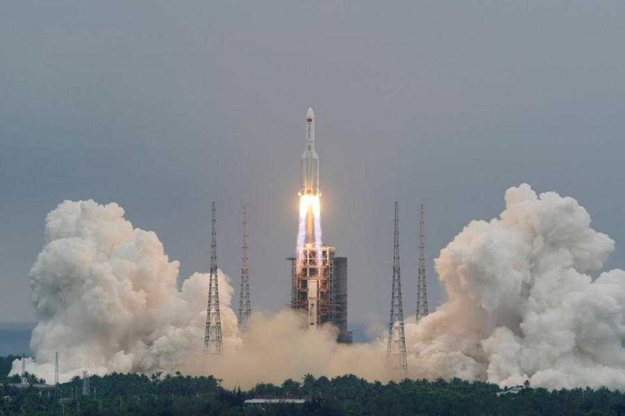 The Long March-5B Y2 rocket, carrying the core module of China's space station Tianhe, takes off from Wenchang Space Launch Center in Hainan province, China April 29, 2021. China Daily via REUTERS