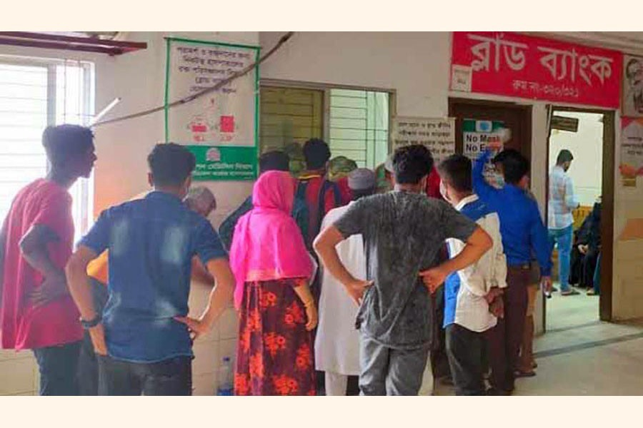 People in a queue to collect blood at blood bank of Cumilla Medical College and Hospital — FE Photo