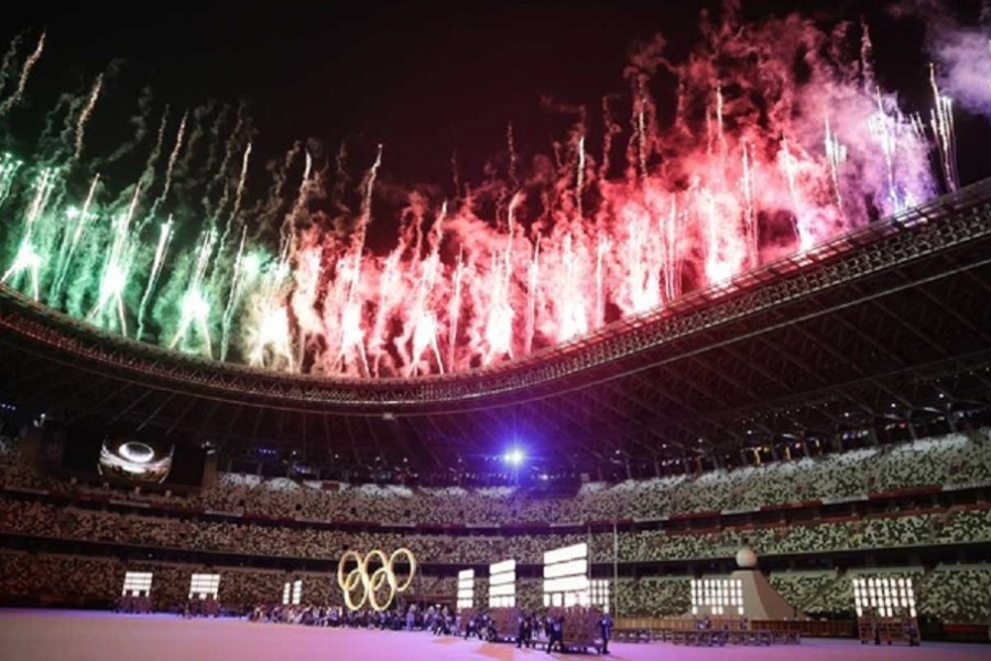 Fireworks are set off during the opening ceremony. Tokyo 2020 Olympics - The Tokyo 2020 Olympics Opening Ceremony - Olympic Stadium, Tokyo, Japan - July 23, 2021. Reuters