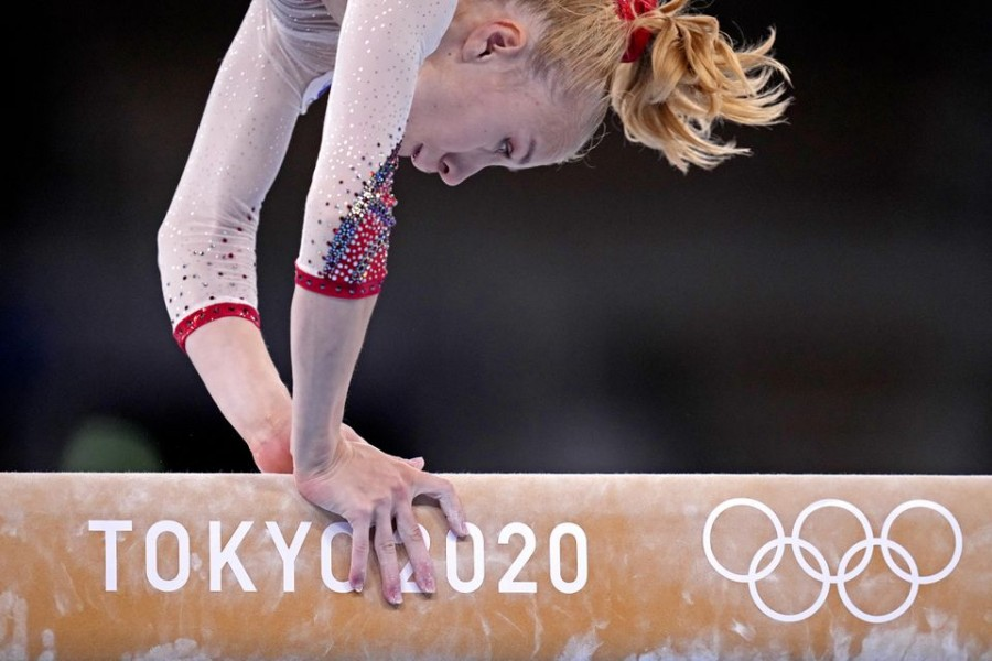 Viktoria Listunova (ROC) competes on the beam in the womens gymnastics qualifications during the Tokyo 2020 Olympic Summer Games at Ariake Gymnastics Centre — USA Today Network via Reuters