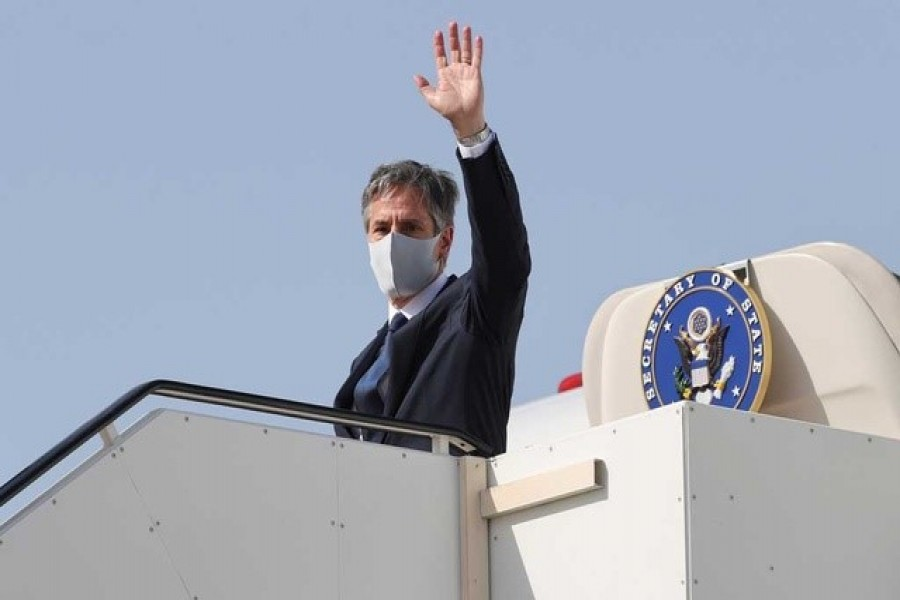US Secretary of State Antony Blinken boards his plane to depart for his return to the United States from Kuwait International Airport in Kuwait City, Kuwait, July 29, 2021 — Reuters