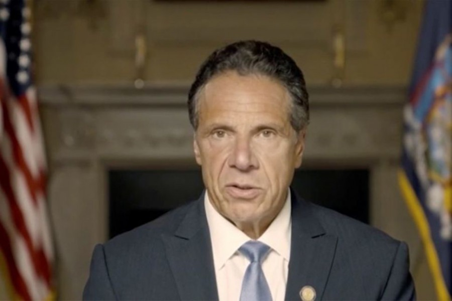 New York Governor Andrew Cuomo makes a statement in this screen grab taken from a pre-recorded video released by Office of the NY Governor, in New York, US on August 3, 2021 — Reuters photo